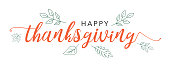 Happy Thanksgiving Calligraphy Text with Illustrated Green Leaves Over White Background