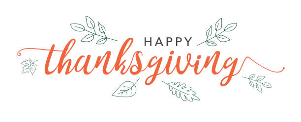 happy thanksgiving lässt kalligraphie mit illustrierten grün over white background - vielen dank stock-grafiken, -clipart, -cartoons und -symbole