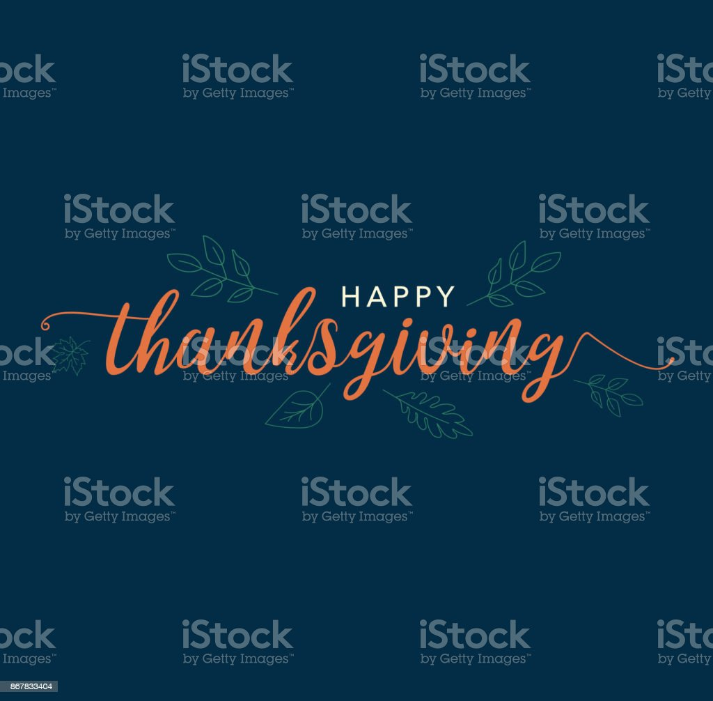 Happy Thanksgiving Calligraphy Text with Illustrated Leaves Over Dark Blue Background vector art illustration