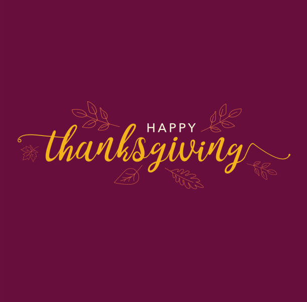 Happy Thanksgiving Calligraphy Text with Illustrated Leaves Over Dark Maroon Background vector art illustration