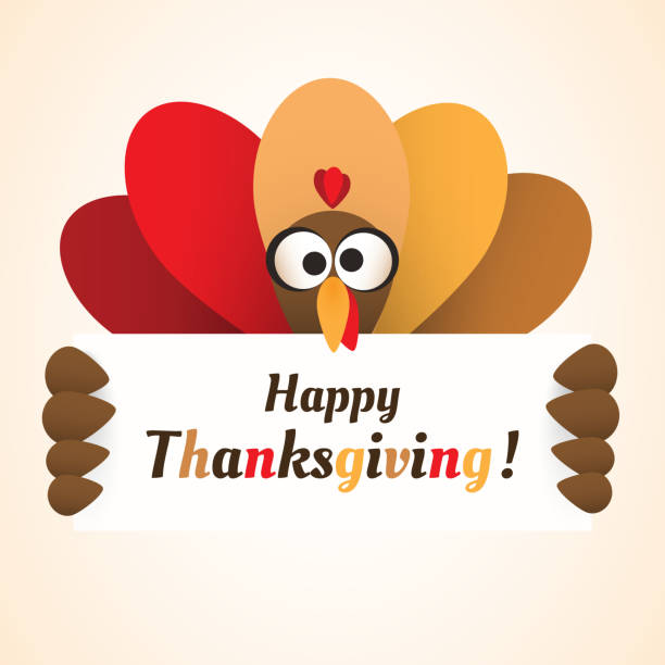happy thanksgiving card design template - thanksgiving turkey stock illustrations