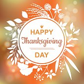 Happy Thanksgiving card design with elegant branch round frame and text, vector illustration. Lettering design