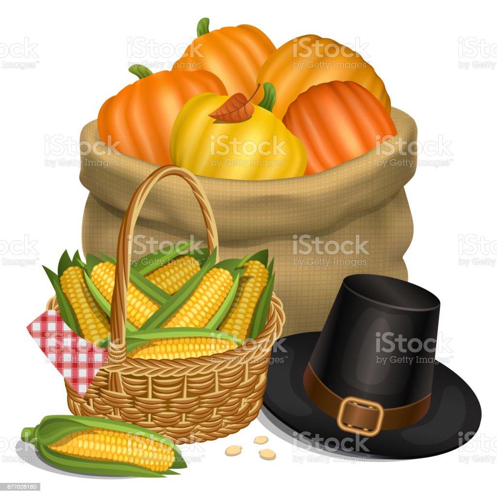 Happy Thanksgiving card. Piligrim hat with bag full orange pumpkins and basket full corn. Vector illustration. vector art illustration