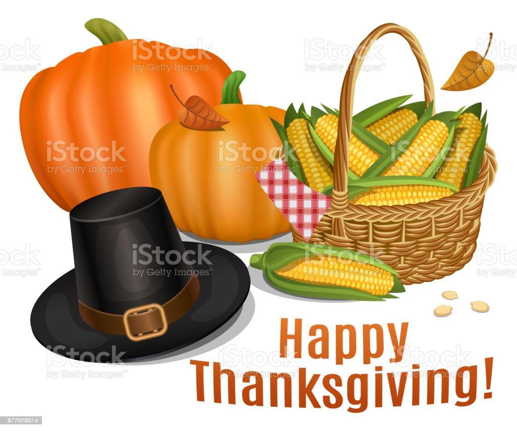 Happy Thanksgiving card. Piligrim hat with orange pumpkins and basket full corn. Vector illustration. vector art illustration