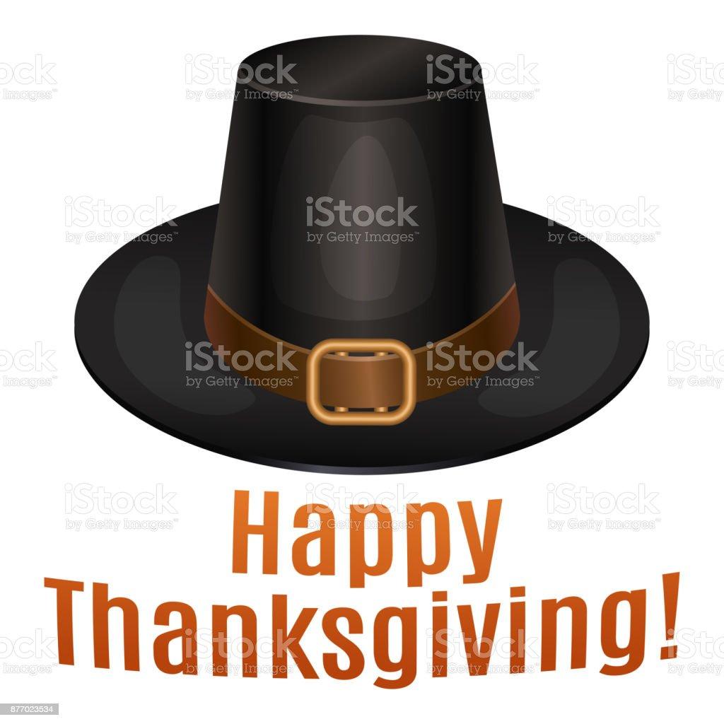 Happy Thanksgiving card, poster, background with piligrim hat. Vector illustration. vector art illustration