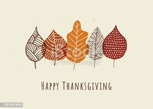 Happy Thanksgiving card with autumn leaves.