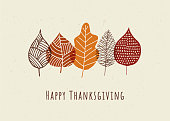 Happy Thanksgiving card with autumn leaves. Stock illustration