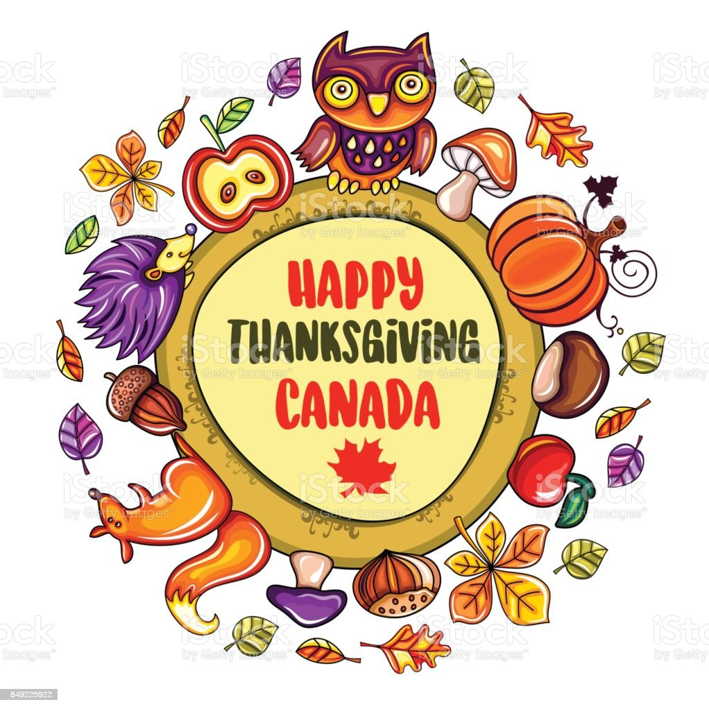 Happy Thanksgiving card with Canadian maple leaf, banner, poster. vector art illustration