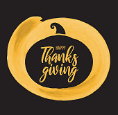 Happy Thanksgiving card with gold watercolor paintbrush. Vector illustration. EPS10