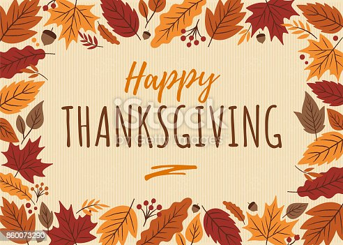 istock Happy Thanksgiving card with leaves frame. 860073290