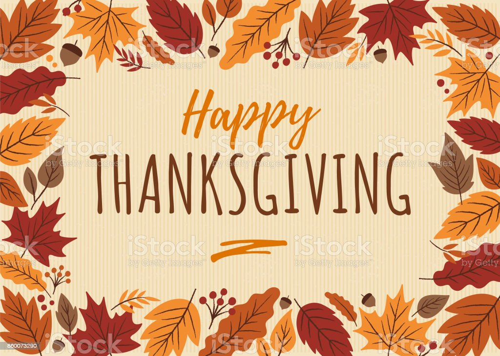 Happy Thanksgiving card with leaves frame. vector art illustration