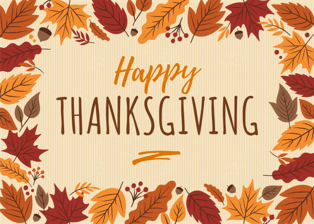 happy thanksgiving card with leaves frame. - thanksgiving stock illustrations