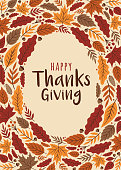 Happy Thanksgiving card with leaves frame. - Illustration