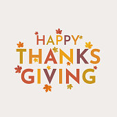Happy Thanksgiving card with leaves. Vector illustration. EPS10