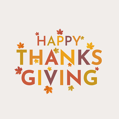 Happy Thanksgiving card with leaves. Vector