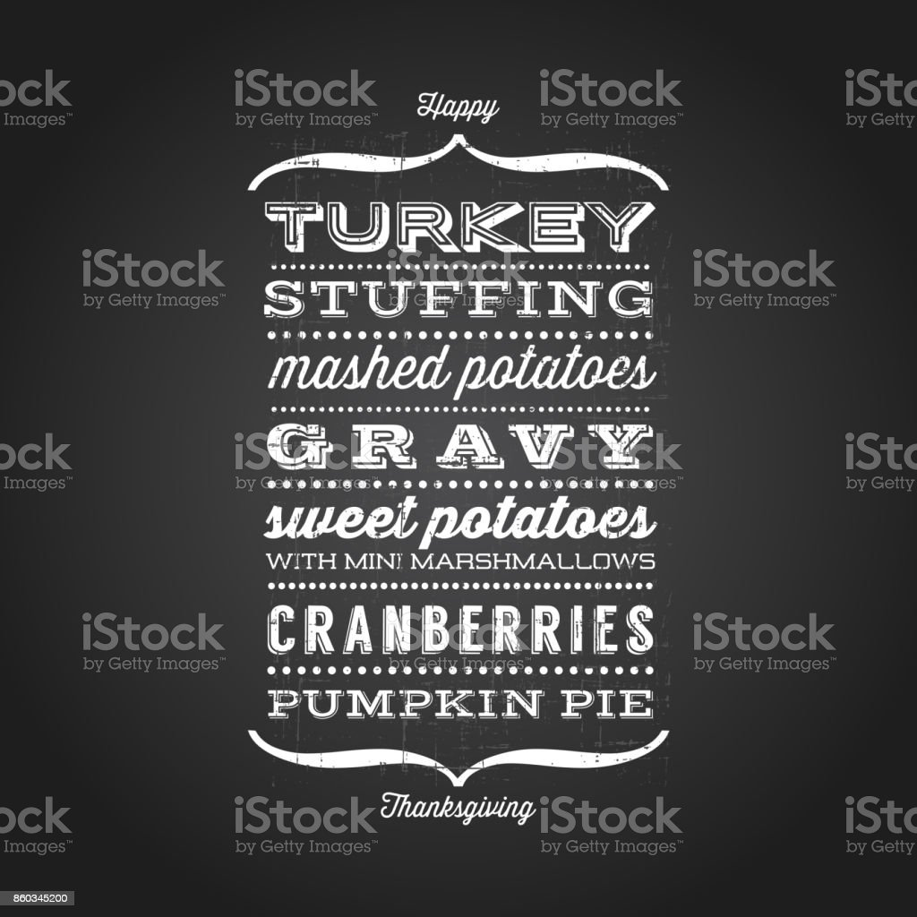 Happy Thanksgiving card with menu list of typical foods served at Thanksgiving dinner. Various retro fonts with black chalkboard background vector art illustration