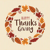 istock Happy Thanksgiving card with wreath. 858643472