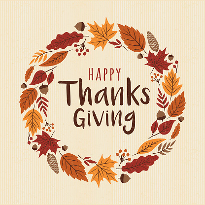 Happy Thanksgiving card with wreath.