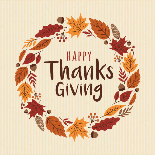 happy thanksgiving card with wreath. - thanksgiving stock illustrations