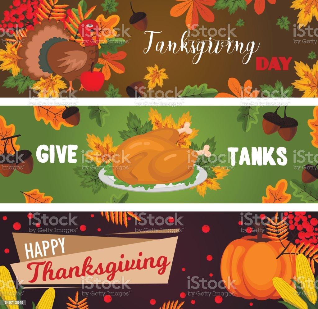 Happy thanksgiving cards celebration banner design cartoon autumn greeting harvest season holiday brochure vector illustration vector art illustration