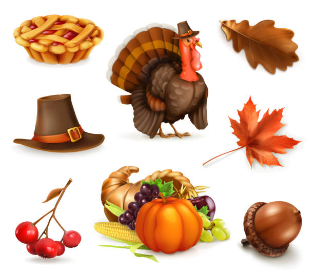 happy thanksgiving cartoon character and objects. 3d vector icon set - thanksgiving turkey stock illustrations