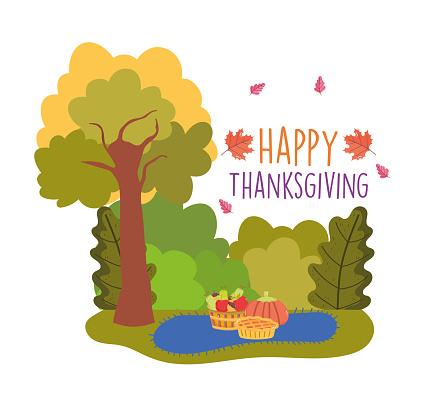 happy thanksgiving celebration cake pumpkin fruits basket blanket outdoors