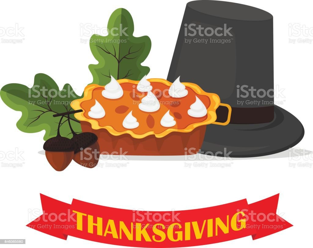 Happy Thanksgiving Celebration Design cartoon autumn greeting harvest season holiday banner vector illustration. vector art illustration