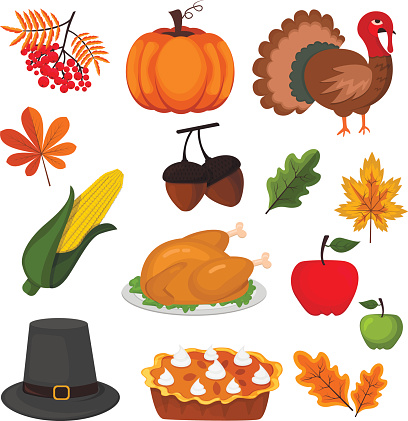 Happy Thanksgiving Celebration Design cartoon autumn greeting harvest season holiday icons vector illustration.