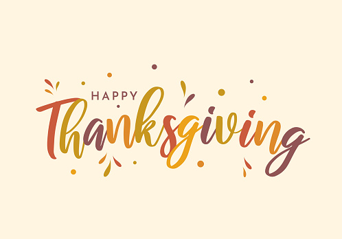 Happy Thanksgiving colorful lettering design. Vector