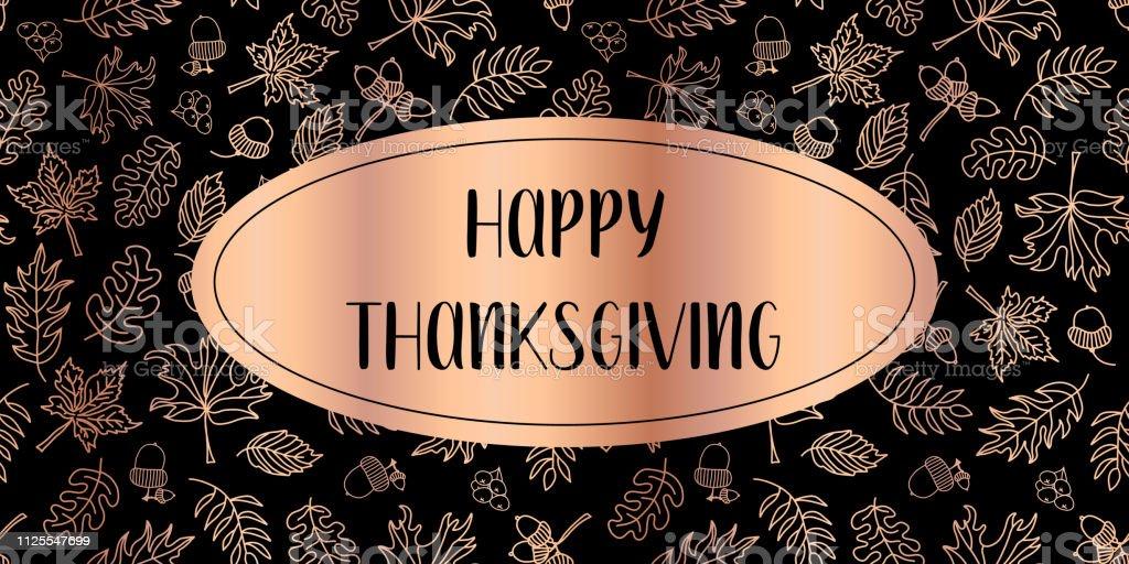 Happy Thanksgiving copper foil text vector leaves vector art illustration