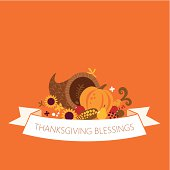 Happy Thanksgiving cornucopia with banner. Copy space for your text
