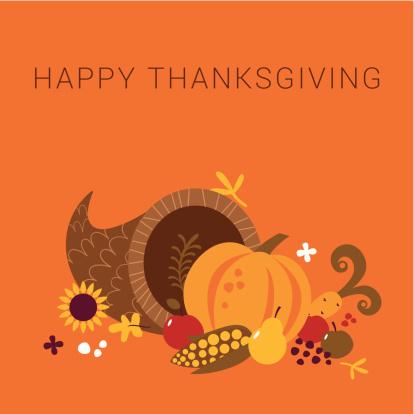 Happy Thanksgiving cornucopia card