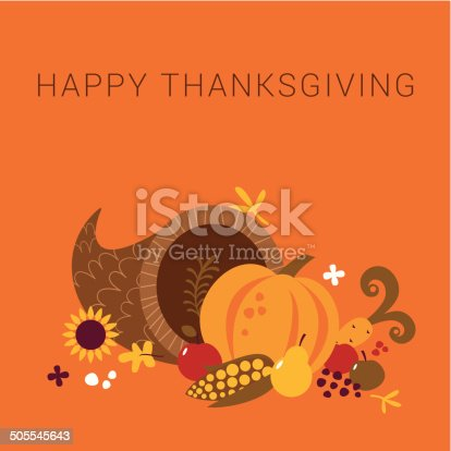 Happy Thanksgiving design with cornucopia and text. Global colors used.