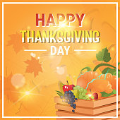Happy Thanksgiving Day Autumn Traditional Holiday Greeting Card Flat Vector Illustration