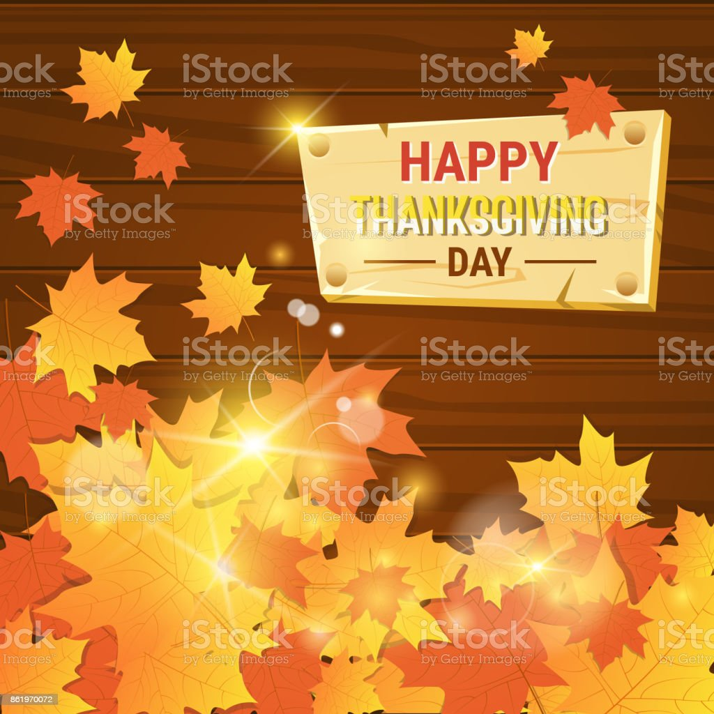 Happy Thanksgiving Day Autumn Traditional Holiday Greeting Card