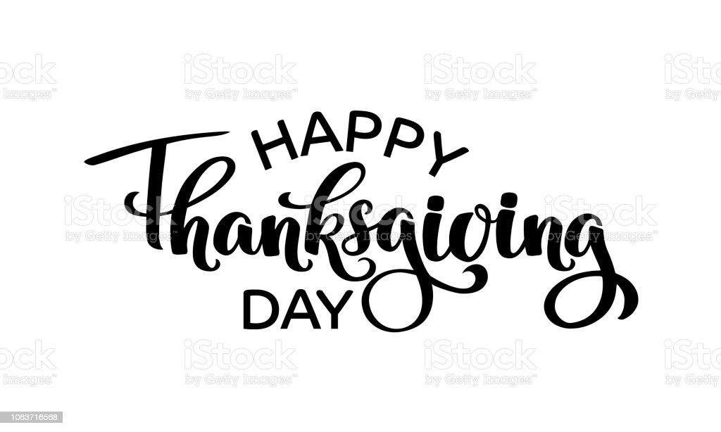 Happy Thanksgiving Day Autumn Typography Hand Drawn