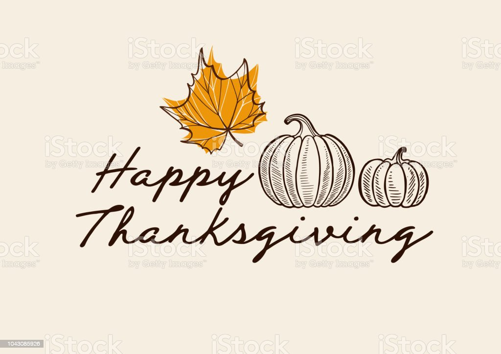 Happy thanksgiving day background with lettering and illustrations. - Grafika wektorowa royalty-free (Baner)