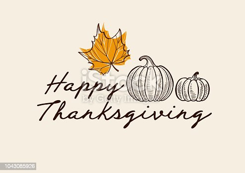 istock Happy thanksgiving day background with lettering and illustrations. 1043085926