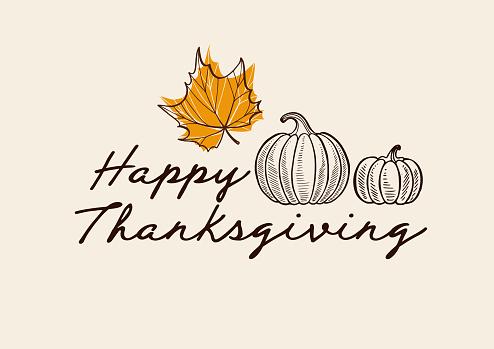Happy Thanksgiving Day Background With Lettering And Illustrations - Stockowe grafiki wektorowe i więcej obrazów Baner