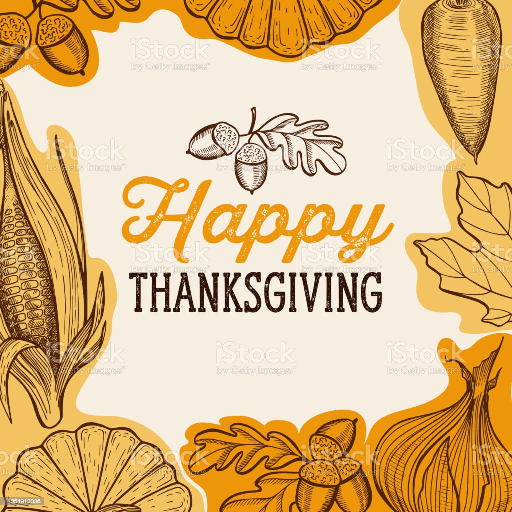 Happy thanksgiving day background with lettering and illustrations. - Grafika wektorowa royalty-free (Dać)