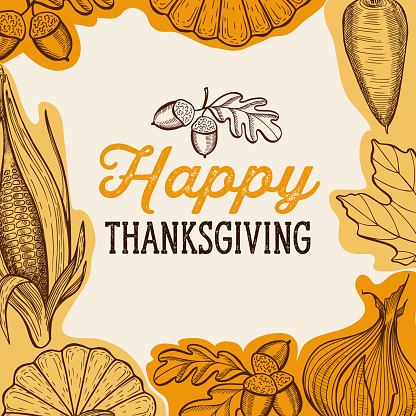 Happy thanksgiving day background with lettering and illustrations.