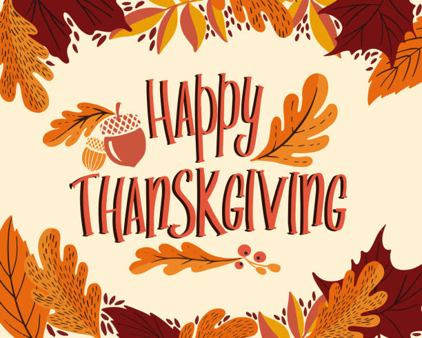 happy thanksgiving day background with lettering and illustrations. - thanksgiving stock illustrations