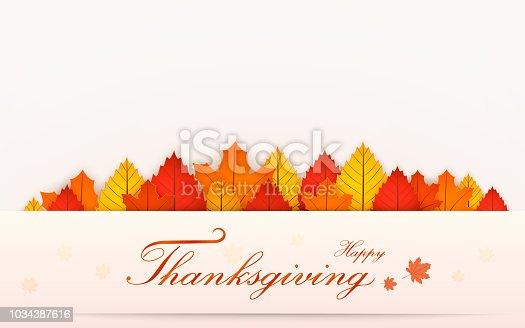 Happy Thanksgiving day banner. Autumn blur background.