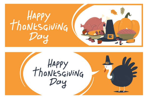 happy thanksgiving day banners with turkey, pumpkin, food, leaves and hat vector cartoon set isolated on a white background. - pumpkin pie stock illustrations