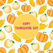 Happy Thanksgiving Day card. Autumn Cartoon vegetable and apple seamless pattern. Vector ilustration isolated on white background.