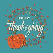 Happy Thanksgiving day card with decorative elements, floral wreath and pumpkin, colorful design, vector illustration
