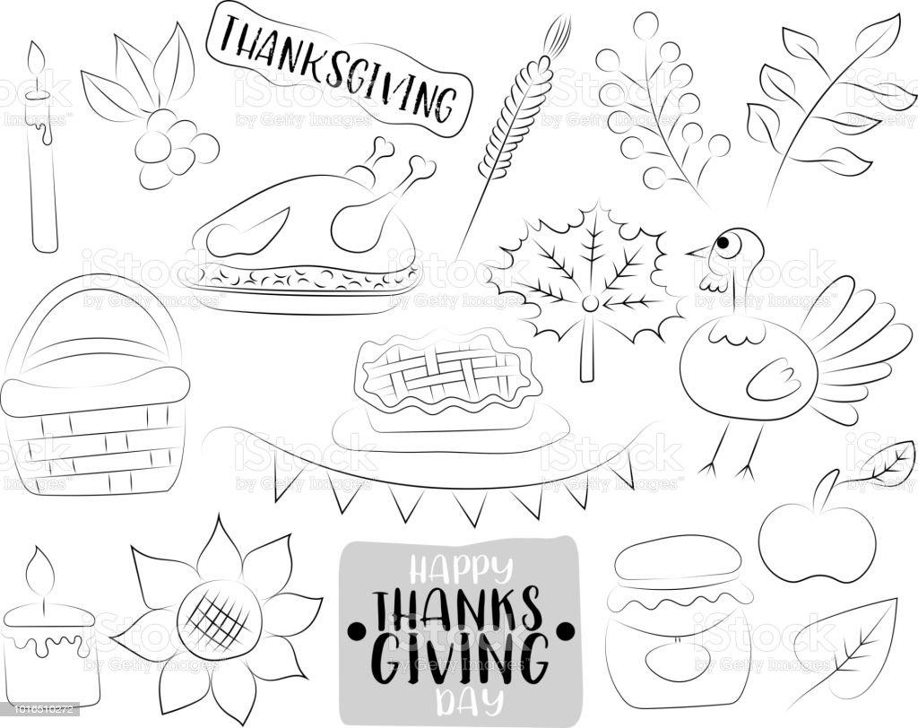 Ilustración de Feliz Día De Acción De Gracias Dibujos Animados ...