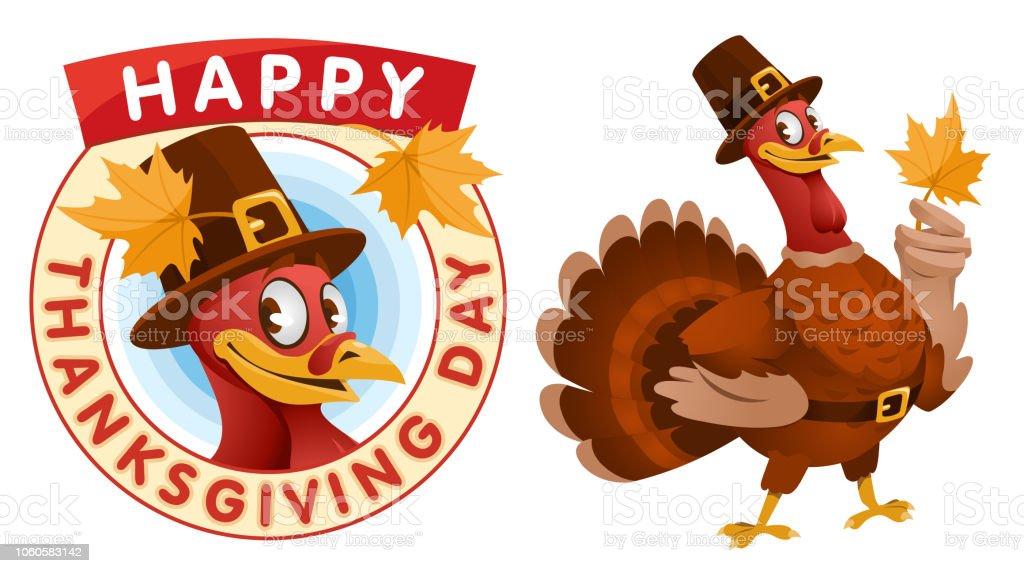 Feliz día de acción de gracias. Dibujos animados de Turquía en un sombrero de peregrino mantiene la hoja de otoño. - arte vectorial de Acontecimiento libre de derechos