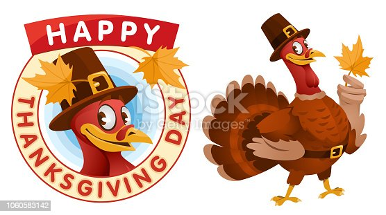 Happy Thanksgiving Day. Cartoon turkey in a pilgrim hat keeps the autumn leaf. Vector illustration. Elements is grouped. No transparent objects.
