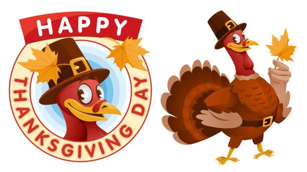 happy thanksgiving day. cartoon turkey in a pilgrim hat keeps the autumn leaf. - thanksgiving turkey stock illustrations